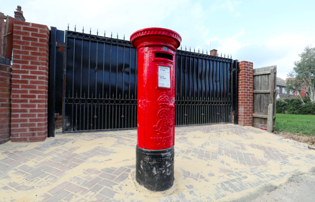 The postbox has been left in the middle of a driveway (Picture: SWNS)