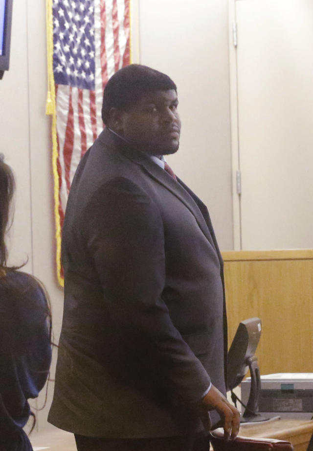 Former Dallas Cowboy Josh Brent stands in court during his trial for intoxication manslaughter, Thursday, Jan. 16, 2014, in Dallas. Brent is accused of driving drunk at the time of a December 2012 crash that killed Cowboys practice squad player Jerry Brown. (AP Photo/LM Otero)