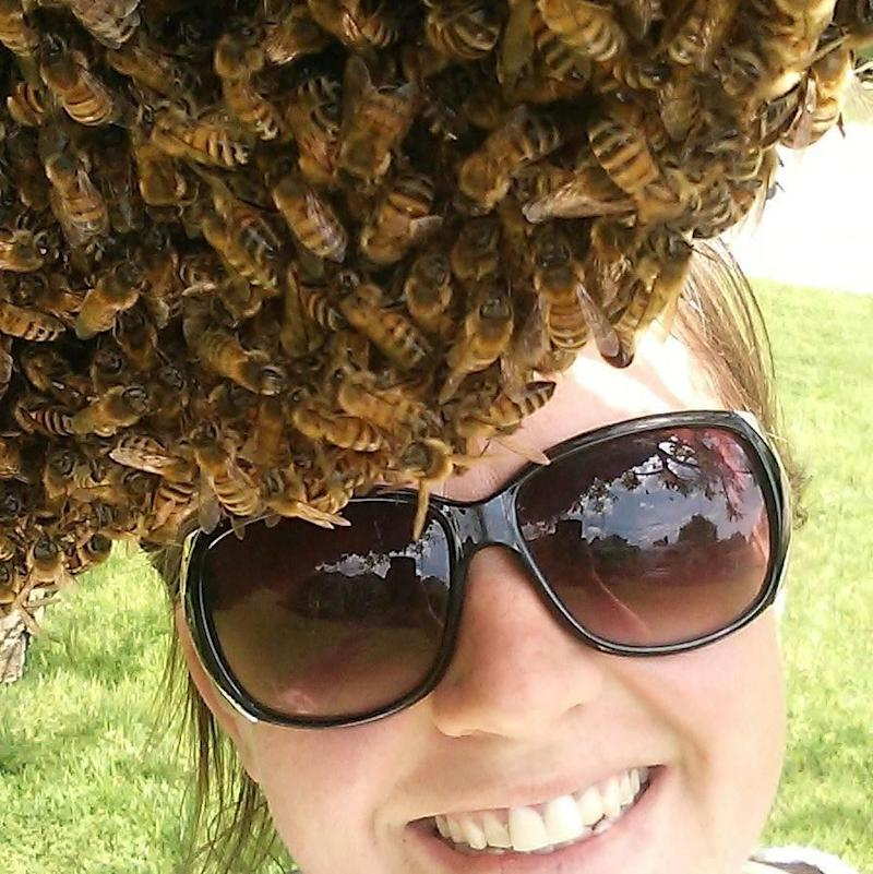 Emily Mueller is an experienced bee keeper with a environmentally-friendly honey removal service on Ohio. Photo: Emily Mueller