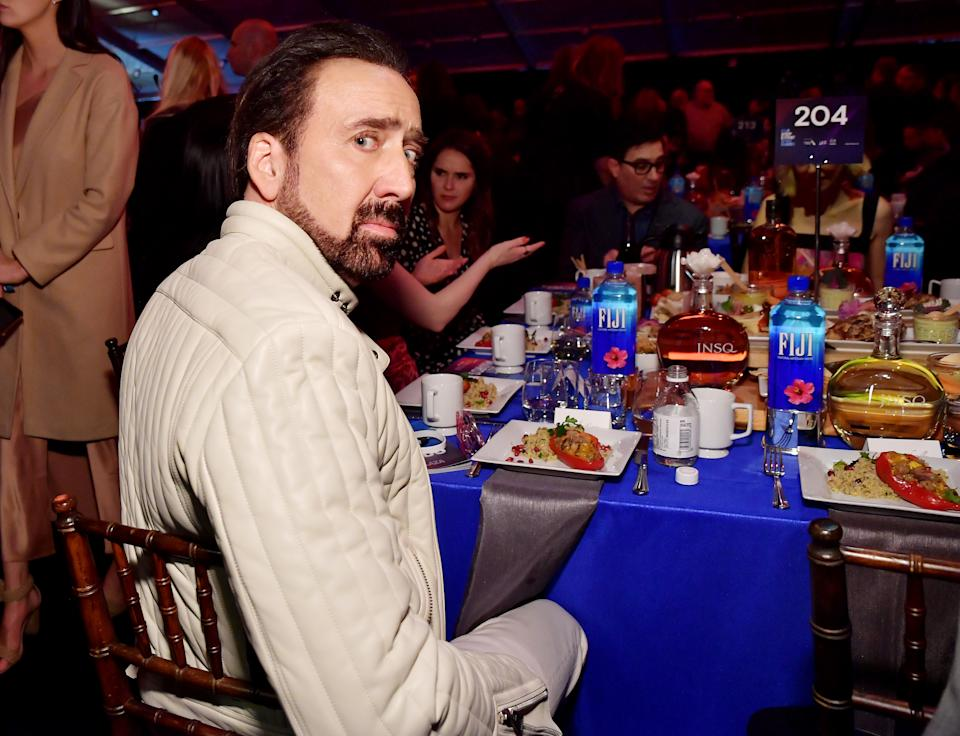 SANTA MONICA, CALIFORNIA - FEBRUARY 08: Nicolas Cage with FIJI Water and JNSQ at The 2020 Film Independent Spirit Awards on February 08, 2020 in Santa Monica, California. (Photo by Stefanie Keenan/Getty Images for FIJI Water)