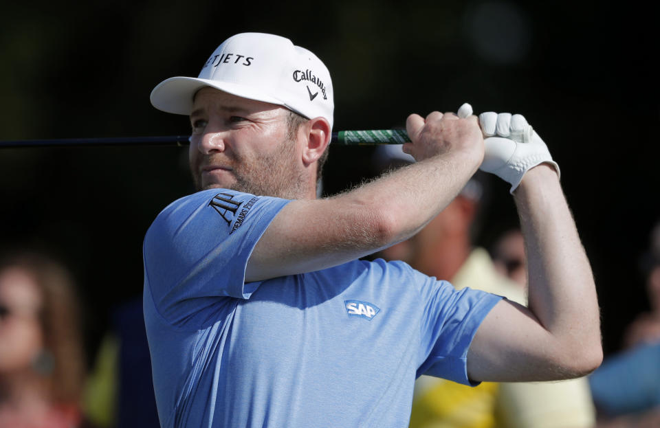 Branden Grace hits off the 18th tee during the third round of the PGA Zurich Classic golf tournament at TPC Louisiana in Avondale, La., Saturday, April 27, 2019. (AP Photo/Gerald Herbert)