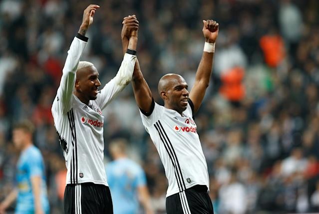Soccer Football - Super Lig - Besiktas vs Osmanlispor - Vodafone Arena, Istanbul, Turkey - December 17, 2017 Besiktas' Ryan Babel celebrates scoring their second goal with Anderson Talisca REUTERS/Murad Sezer