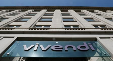 FILE PHOTO: A logo is seen over the main entrance of the entertainment-to-telecoms conglomerate Vivendi's headquarters in Paris