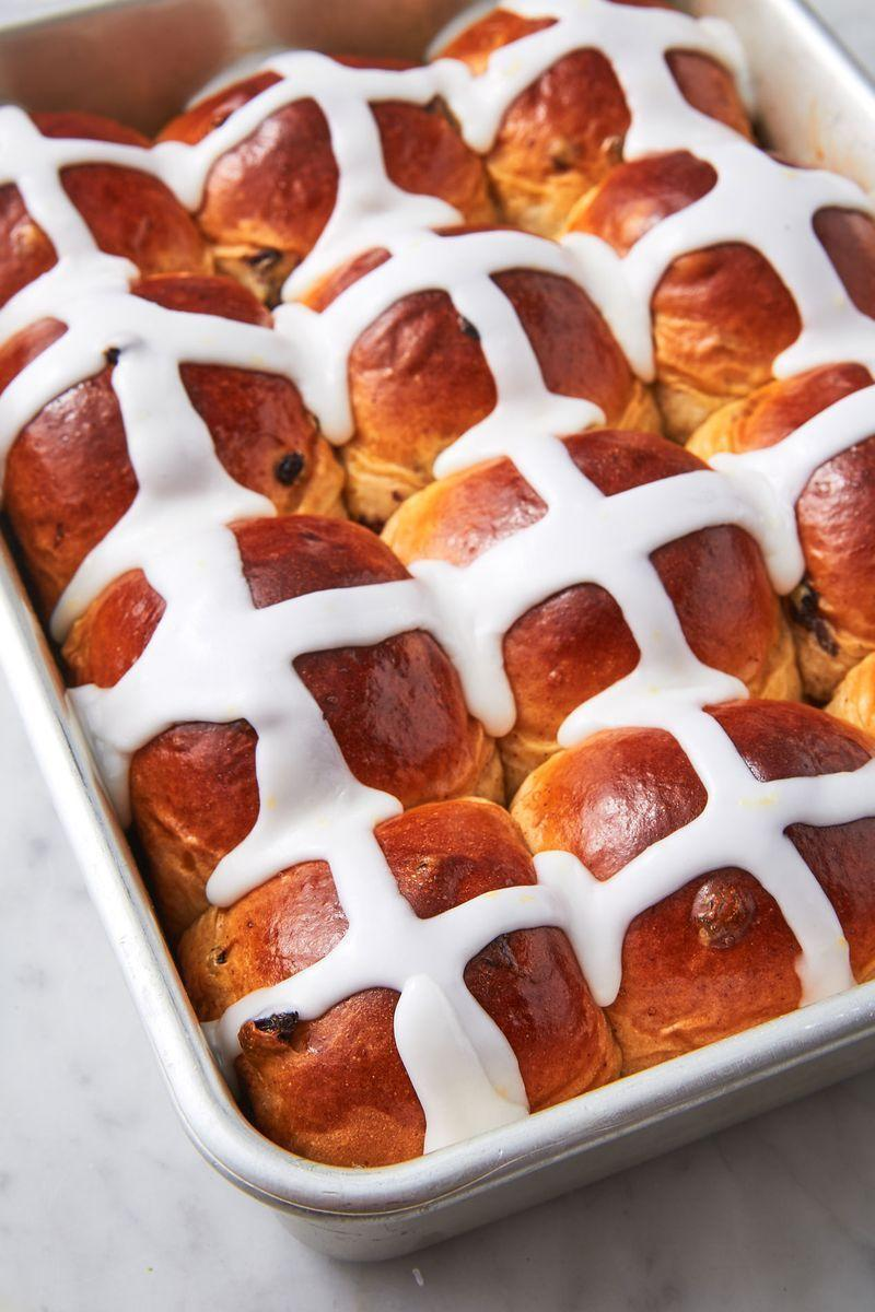 "<p>We make our version with plump currants, cinnamon, nutmeg, and a bit of lemon zest to brighten the warm spices.</p><p>Get the <a href=""https://www.delish.com/uk/cooking/recipes/a30775982/hot-cross-buns-recipe/"" rel=""nofollow noopener"" target=""_blank"" data-ylk=""slk:Hot Cross Buns"" class=""link rapid-noclick-resp"">Hot Cross Buns</a> recipe.</p>"