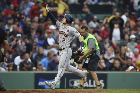 Oct 9, 2017; Boston, MA, USA; Houston Astros third baseman Alex Bregman (2) celebrates after hitting a solo home run against the Boston Red Sox during the eighth inning in game four of the 2017 ALDS playoff baseball series at Fenway Park. Mandatory Credit: Bob DeChiara-USA TODAY Sports