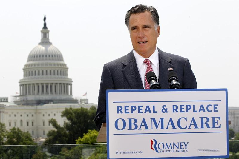 FILE - In this June 28, 2012 file photo, Republican presidential candidate Mitt Romney speaks about the Supreme Court ruling on health care in Washington. President Barack Obama and Republican Mitt Romney say the Supreme Court's decision last week upholding the president's health care law gives them each advantages in the roughly dozen of states they are contesting most aggressively. Obama's team says the decision has swelled the ranks -- by the thousands -- of campaign volunteers in states he won in 2008 and hopes to again to seal his re-election. Romney is claiming success using the ruling as a fundraising tool, saying thousands of small contributions have poured in from across the battleground map as the law's opponents have seized on Romney as a last hope to repeal it. Both say the groundswell is on their side, and could make the difference in winning and losing. (AP Photo/Charles Dharapak, File)