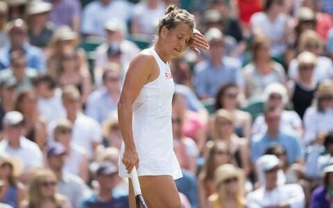 <span>Strycova tweaked a right gluteal muscle on the second point of the match</span> <span>Credit: Eddie Mulholland </span>