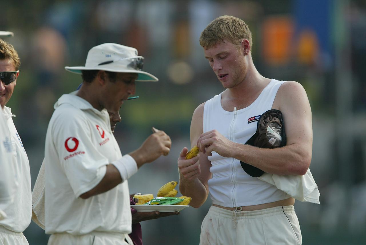 COLOMBO, SRI LANKA - DECEMBER 19:  Andrew Flintoff of England during the Second day of the third test between Sri Lanka and England at The Sinhalese Sports Club on December 19, 2003 in Colombo, Sri Lanka. (Photo by Stu Forster/Getty Images)