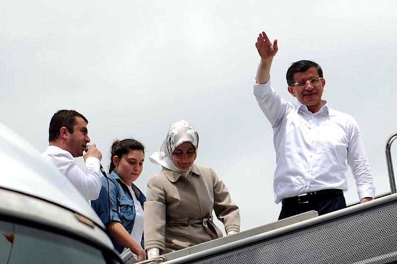 Ahmet Davutoglu (right) took over as prime minister and head of the Justice and Development Party (AKP) in August 2014 (AFP Photo/Ozan Kose)