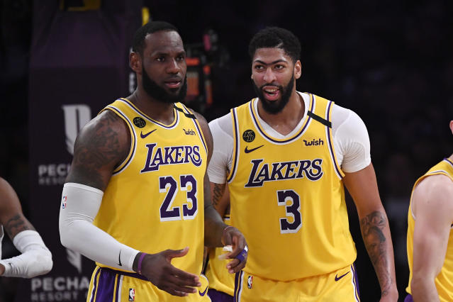 LeBron James, left, and Anthony Davis form perhaps the NBA's best duo. (AP Photo/Mark J. Terrill)