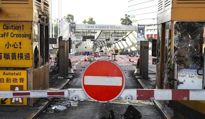 Toll booths on the Hung Hom side of the Cross-Harbour Tunnel, next to PolyU, were badly damaged by radicals occupying the campus. Photo: Winson Wong