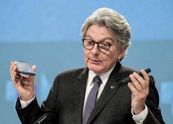 PHOTO: European Commissioner for Internal Market Thierry Breton speaks during a media conference on a common charging solution for mobile phones at EU headquarters in Brussels, Sept. 23, 2021 (Thierry Monasse/AP)