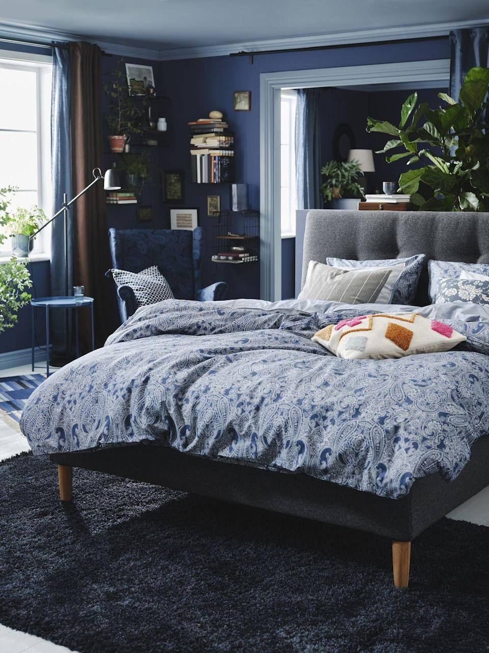 """<p>""""A <a href=""""https://www.countryliving.com/uk/homes-interiors/interiors/a36658021/guest-bedroom-ideas/"""" rel=""""nofollow noopener"""" target=""""_blank"""" data-ylk=""""slk:bedroom"""" class=""""link rapid-noclick-resp"""">bedroom</a> is a place of rest, although emotional or physical clutter can often get in the way and impact our sleep,"""" Clotilde adds. <br></p><p>""""Choosing the right colour palette is a great way to help create a peaceful space where you can feel at ease.""""</p>"""
