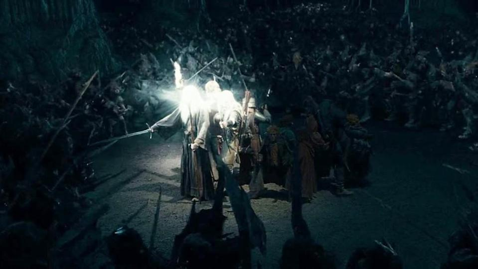 The fellowship are surrounded by Orcs in the Mines of Moria in The Lord of the Rings: The Fellowship of the Ring.