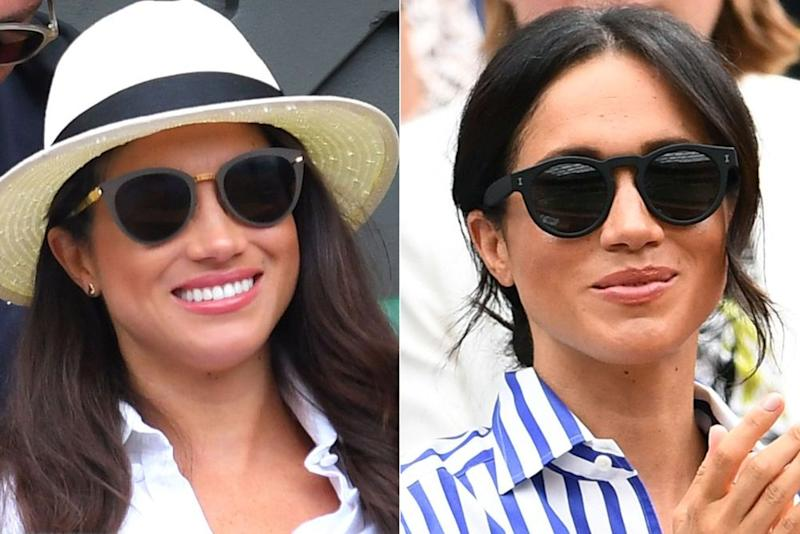 Meghan Markle in 2016 (left) and 2018 (right)