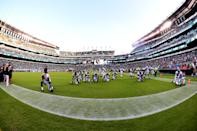 Stadium view of Philadelphia Eagles taking a knee during a NFL preseason game between the Miami Dolphins and the Philadelphia Eagles on August 24, 2017 at Lincoln Financial Field in Philadelphia, PA. Eagles won 38-31.(Photo by Andy Lewis/Icon Sportswire via Getty Images)