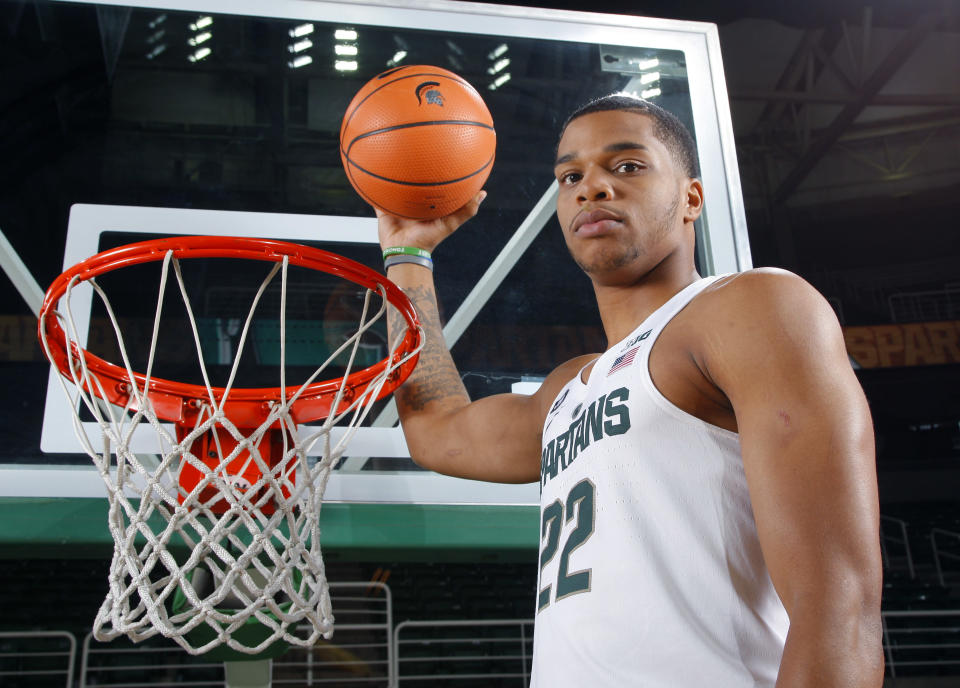 Michigan State's Miles Bridges poses during the NCAA college basketball team's media day, Wednesday, Oct. 11, 2017, in East Lansing, Mich. (AP Photo/Al Goldis)