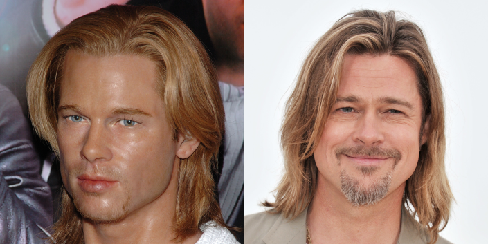 """<p>Long-haired Brad Pitt is the best Brad Pitt, don't @ me, yet the long-haired version of his wax figure looks like he borrowed Bill Hader's wig from """"The Californians"""" and went nuts with the highlighter. </p>"""