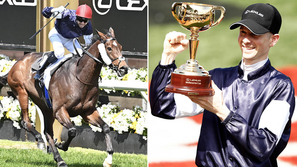 Jye McNeil celebrates after winning the Melbourne Cup with Twilight Payment. Image: Getty