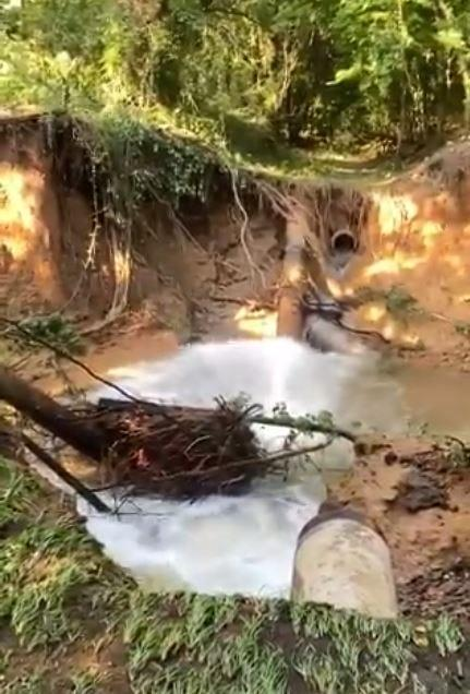 Pictured is a screenshot of a waterline failure that is believed to have caused pressure issues at the Ed Love Water Treatment Plant pump station. This waterline failure was located near the pump station Sunday afternoon.