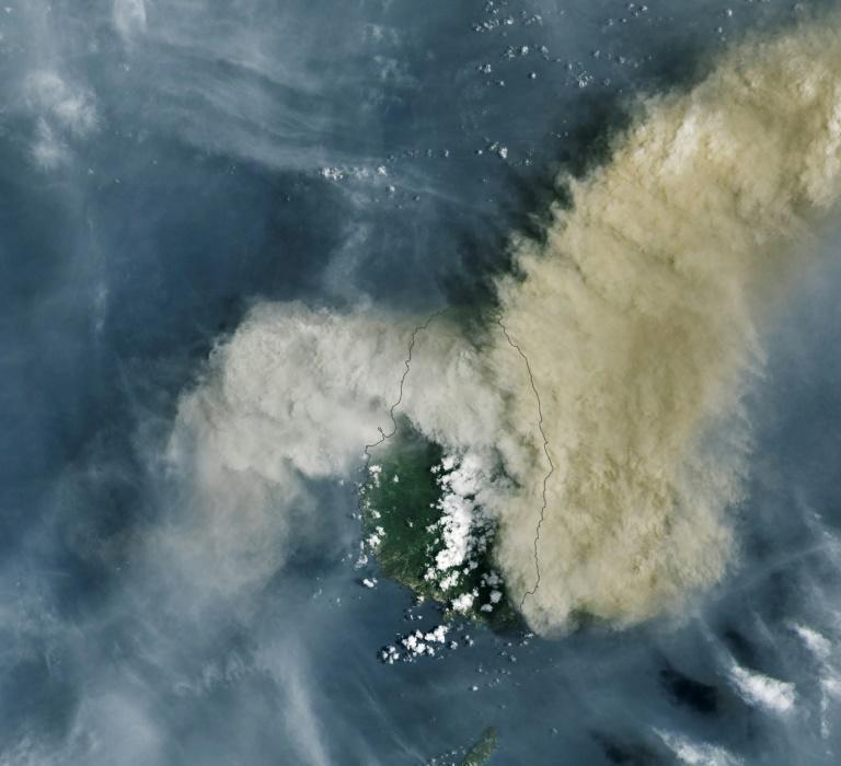 A NASA Earth Observatory satellite image of the volcano eruption of the La Soufriere Volcano on the Caribbean island of St. Vincent