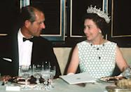 <p>Enjoying one of many state banquets together.</p>