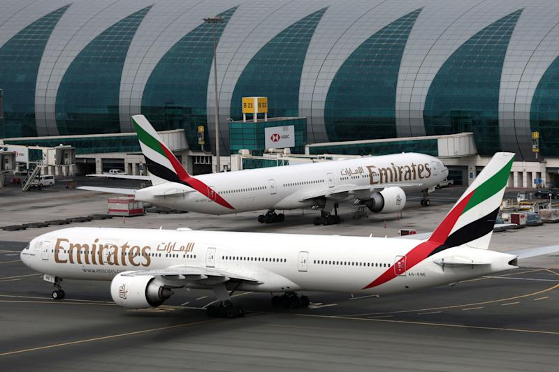 Emirates Airline Boeing 777-300ER planes are seen at Dubai International Airport in Dubai, United Arab Emirates February 15, 2019. REUTERS/Christopher Pike