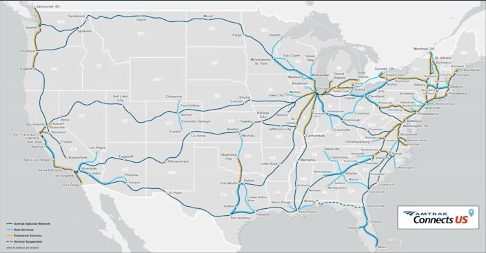 Amtrak's proposed new routes.
