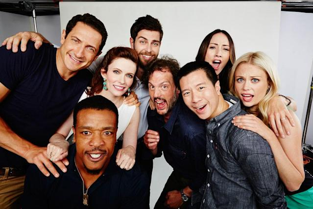 "Sasha Roiz, Bitsie Tulloch, David Giuntoly, Silas Weir Mitchell, Bree Turner, Russel Hornsby, Reggie Lee, and Claire Coffee of ""Grimm"" posing for TV Guide at the 2013 Comic-Con International Convention."