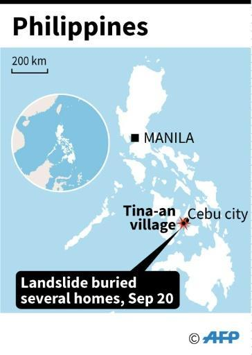 Map of the Philippines locating landslide in Tina-an village, near Cebu city on Thursday