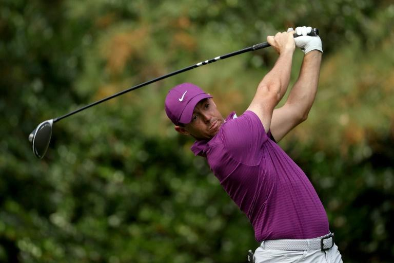 Rory McIlroy of Northern Ireland on the way to a third-round 67 in the Masters at Augusta National