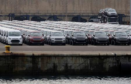 FILE PHOTO -  Parked cars are pictures at the car terminal at the port of Valencia