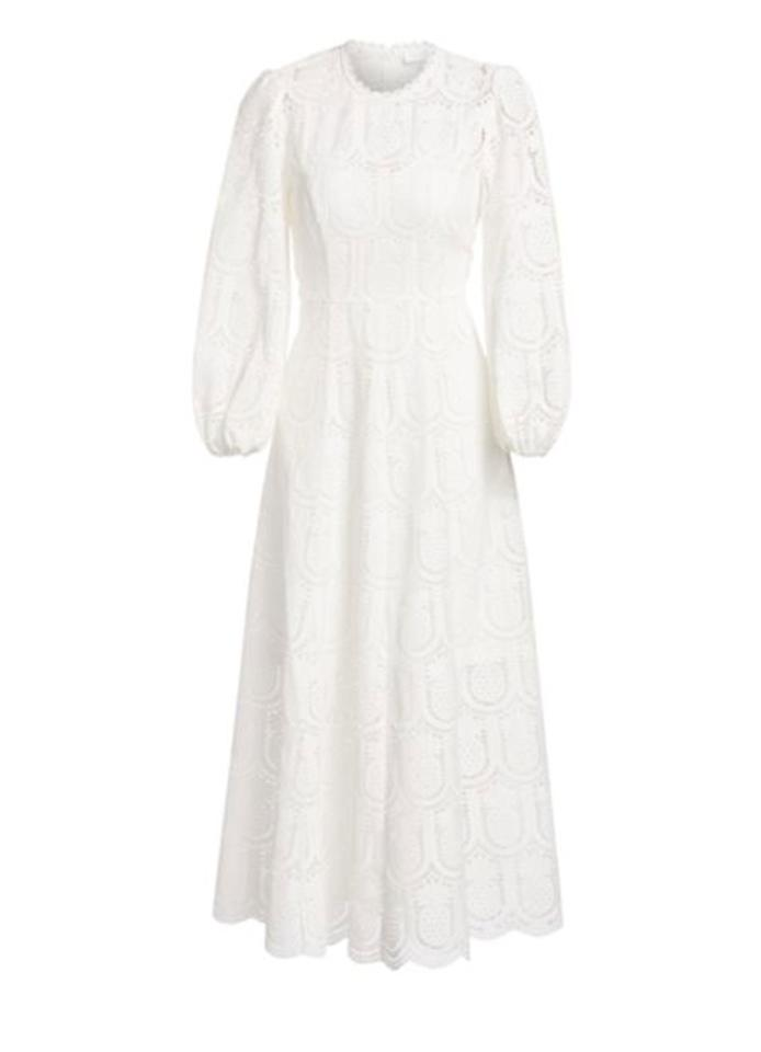 "Zimmermann Wayfarer Pineapple Lace Midi Dress $1350, Saks Fifth Avenue. <a rel=""nofollow"" href=""https://www.saksfifthavenue.com/zimmermann-wayfarer-pineapple-lace-midi-dress/product/0400099839470?FOLDER%3C%3Efolder_id=2534374306648937&R=9352185286870&P_name=Zimmermann&N=306648937&bmUID=mBJ9R6U"">Get it now!</a>"