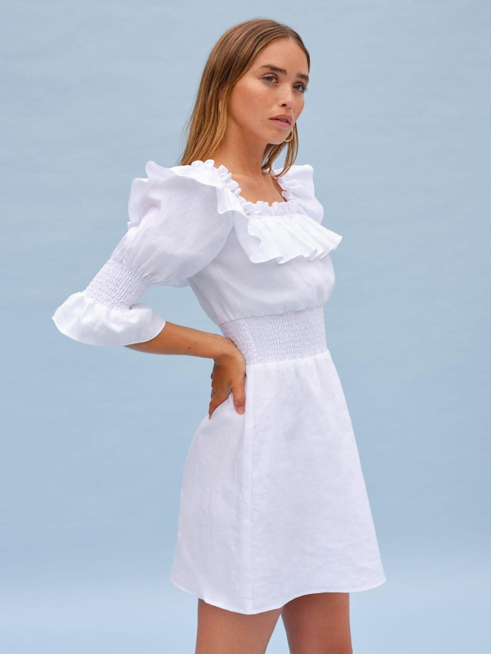 """<h2>Micro-Wedding Frocks</h2><br><br><strong>Reformation</strong> Lowell Dress, $, available at <a href=""""https://go.skimresources.com/?id=30283X879131&url=https%3A%2F%2Fwww.thereformation.com%2Fproducts%2Flowell-dress%3Fcolor%3DWhite"""" rel=""""nofollow noopener"""" target=""""_blank"""" data-ylk=""""slk:Reformation"""" class=""""link rapid-noclick-resp"""">Reformation</a>"""