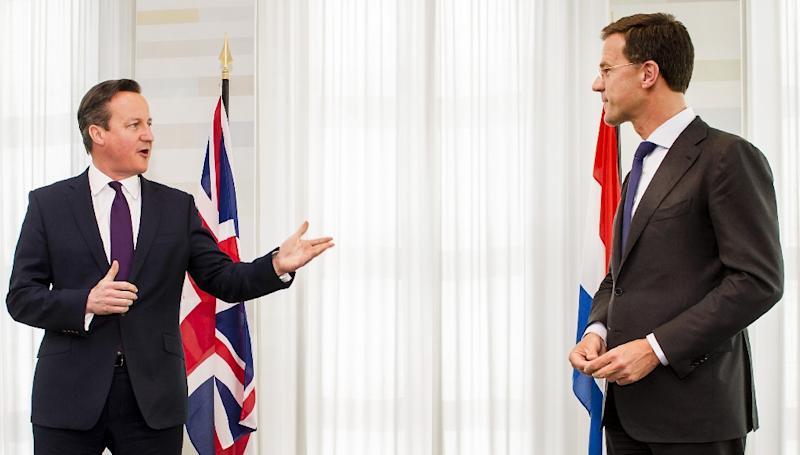 Netherlands' Prime Minister Mark Rutte (R) speaks with British Prime Minister David Cameron prior to a meeting at his official residence in The Hague, on May 28, 2015 (AFP Photo/Remko de Waal)