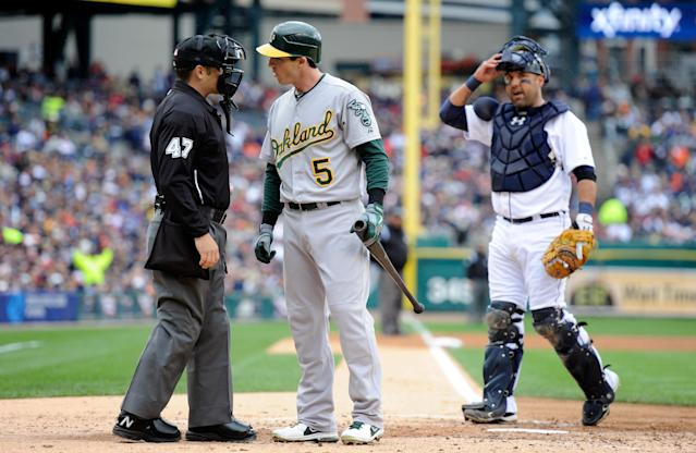 DETROIT, MI - OCTOBER 07: Stephen Drew #5 of the Oakland Athletics arguees a called third strike with home plate umpire Mark Wegner #47 in the top of the third inning against the Detroit Tigers during Game Two of the American League Division Series at Comerica Park on October 7, 2012 in Detroit, Michigan. (Photo by Jason Miller/Getty Images)