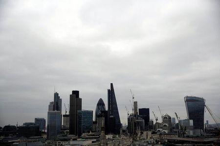 FILE PHOTO: A view of the London skyline shows the City of London financial district, seen from St Paul's Cathedral in London