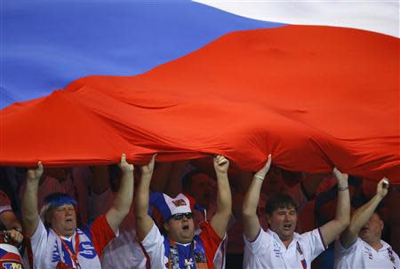 Czech Republic fans cheer as Serbia's Dusan Lajovic competes against Czech Republic's Radek Stepanek during their Davis Cup World Group final tennis match in Belgrade November 17, 2013. REUTERS/Marko Djurica