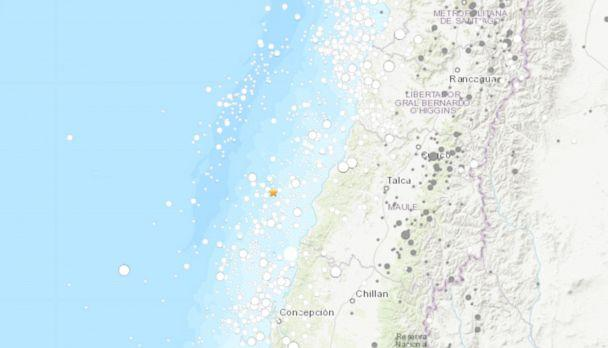 PHOTO: A map of the 6.8 magnitude earthquake off the coast of Chile is seen here. (USGS)