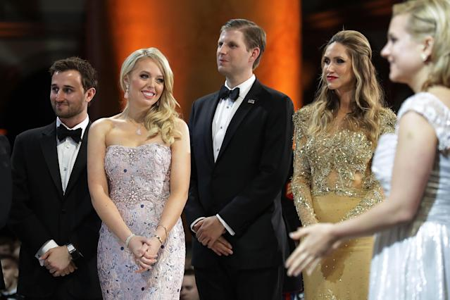 Tiffany Trump  and Ross Mechanic with Eric and Lara Trump at the  inaugural Armed Services Ball at the National Building Museum January 20, 2017 in Washington, DC.. (Photo: Chip Somodevilla/Getty Images)