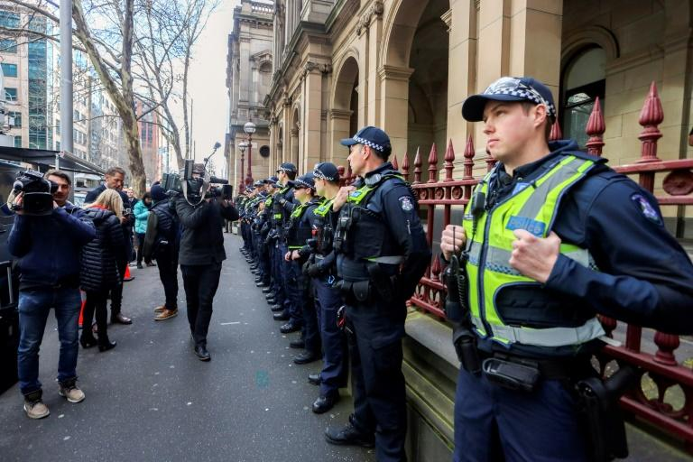 Security was tight at the court in Melbourne where Pell's appeal ruling was handed down (AFP Photo/Asanka Brendon RATNAYAKE)