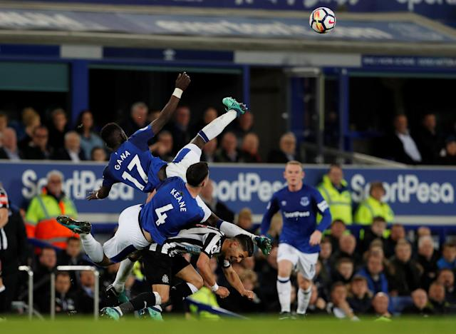 "Soccer Football - Premier League - Everton v Newcastle United - Goodison Park, Liverpool, Britain - April 23, 2018 Newcastle United's Ayoze Perez in action with Everton's Idrissa Gueye and Michael Keane Action Images via Reuters/Lee Smith EDITORIAL USE ONLY. No use with unauthorized audio, video, data, fixture lists, club/league logos or ""live"" services. Online in-match use limited to 75 images, no video emulation. No use in betting, games or single club/league/player publications. Please contact your account representative for further details."