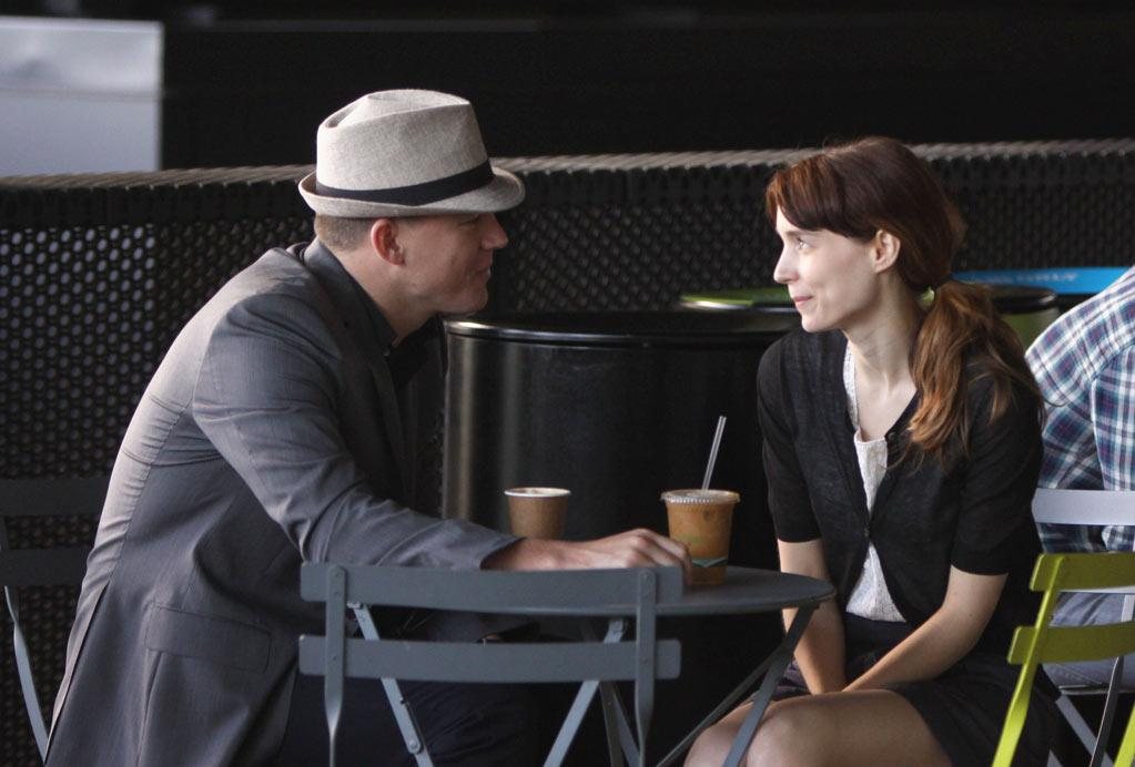 Channing Tatum and Rooney Mara pictured sitting down having coffee as they filmed a scene for 'The Bitter Pill' at The Highline Park in the Meatpacking District in Downtown, Manhattan.