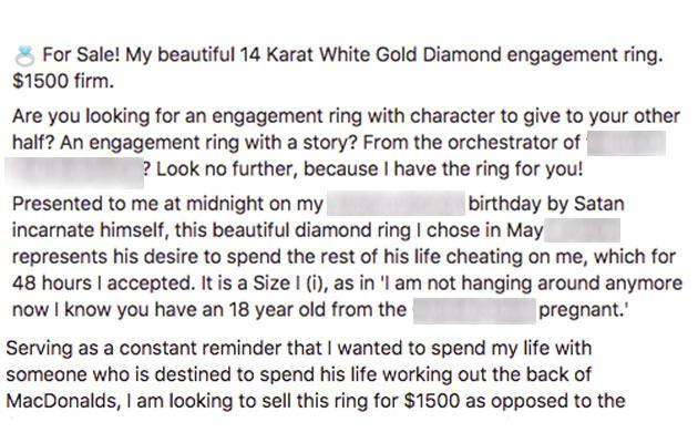 The woman's epic engagement ring ad citing her cheating fiancé.