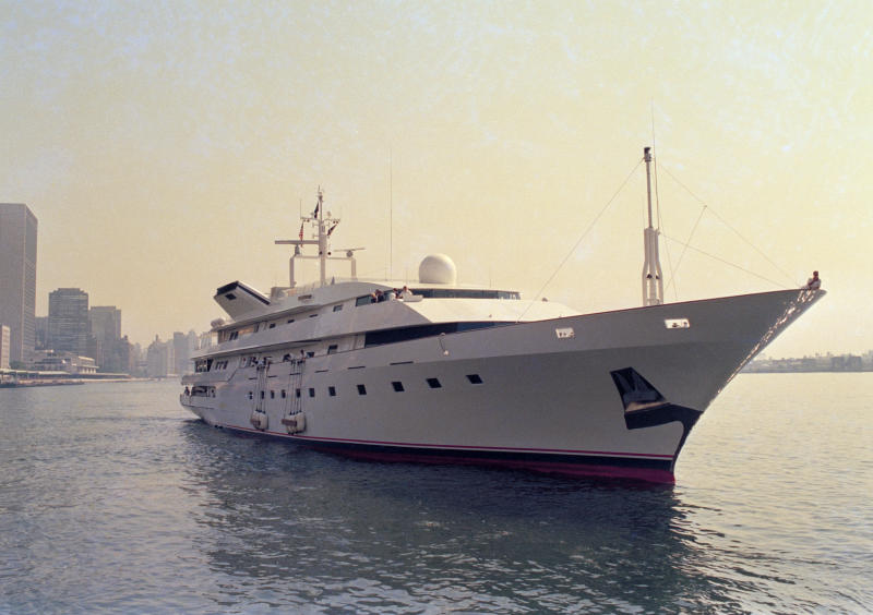 FILE - This is a July 4, 1988 file photo of Donald Trump's yacht, the Trump Princess, in New York City. In 1991, as Trump was teetering on personal bankruptcy and scrambling to raise cash, he sold his 282-foot Trump Princess yacht to Saudi billionaire Prince Alwaleed bin-Talal for $20 million, a third less than what he had reportedly paid for it. Donald Trump's business ties to Saudi Arabia run long and deep, and he's often boasted about his business ties with the kingdom. Now those ties are under scrutiny as the president faces calls for a tougher response to the kingdom's government following the disappearance, and possible killing, of one of its biggest critics, journalist and activist Jamal Khashoggi. Trump said Friday that he will soon speak with Saudi Arabia's king about Khashoggi's disappearance. (AP Photo/Marty Lederhandler, File)