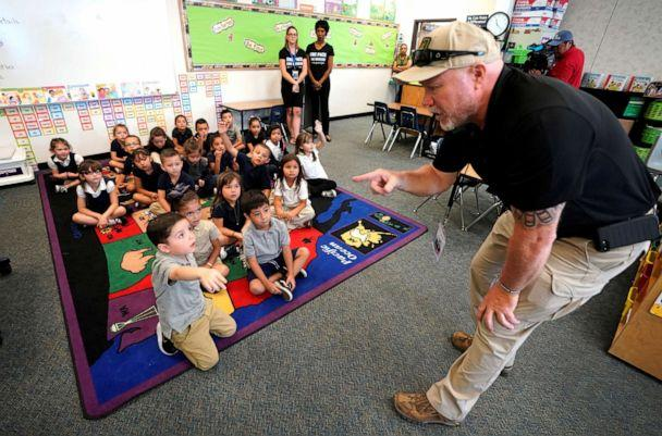 PHOTO: Joe Emery, TAC*ONE trainer and former Las Vegas police department sergeant, speaks to kindergarten students at Pinnacle Charter School during TAC*ONE training for an active shooter situation in a school in Thornton, Colorado, Aug. 29, 2019. (Rick Wilking/Reuters)