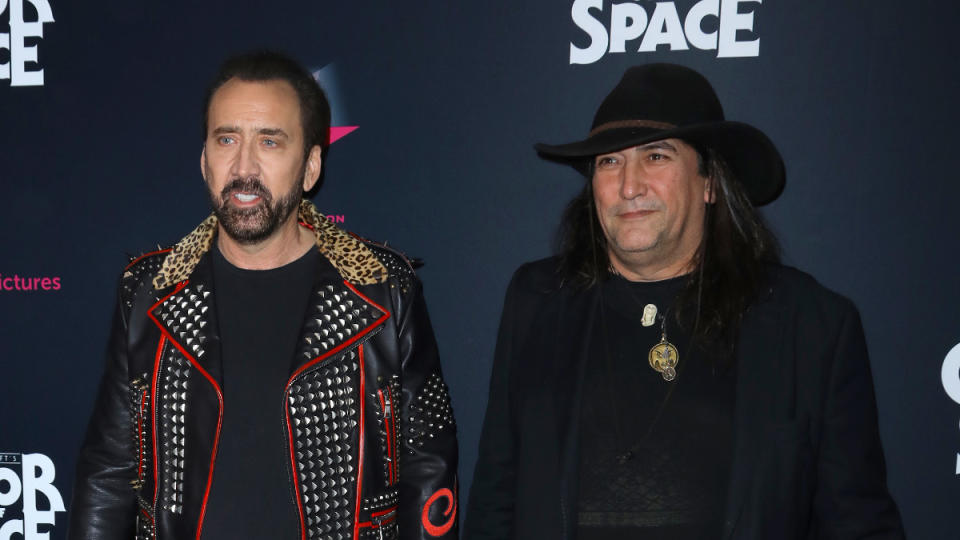 """Nicolas Cage and director Richard Stanley attend a special screening of """"Color Out Of Space"""" on January 14, 2020. (Photo by JC Olivera/Getty Images)"""