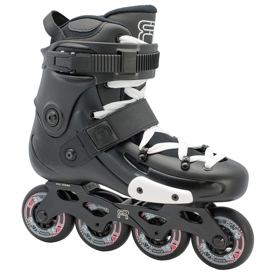"""<p><strong>FR Skates</strong></p><p>amazon.com</p><p><a href=""""https://www.amazon.com/dp/B07JJ91J63?tag=syn-yahoo-20&ascsubtag=%5Bartid%7C2139.g.34587394%5Bsrc%7Cyahoo-us"""" rel=""""nofollow noopener"""" target=""""_blank"""" data-ylk=""""slk:BUY IT HERE"""" class=""""link rapid-noclick-resp"""">BUY IT HERE</a></p><p>The number one call out for these skates are how well the wheels """"bounce."""" This means they are prepared for the most uneven, city-surfaces. They are slightly more advance than beginner skates, but offer particularly good stability and precision control.<br></p>"""