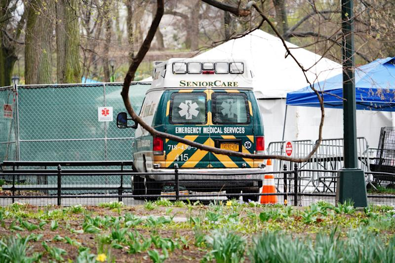 A view of an ambulance right outside a temporary hospital in Central Park. Source: Getty