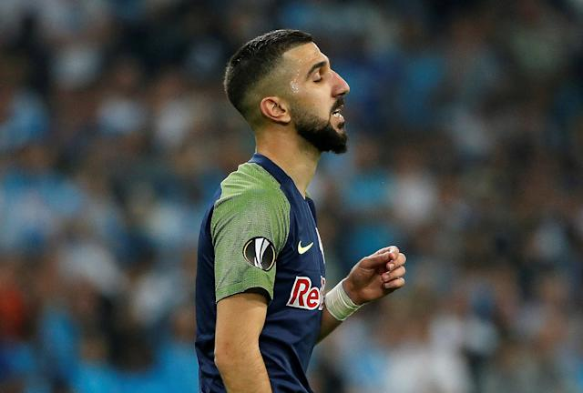 Soccer Football - Europa League Semi Final First Leg - Olympique de Marseille vs RB Salzburg - Orange Velodrome, Marseille, France - April 26, 2018 RB Salzburg's Moanes Dabour reacts REUTERS/Jean-Paul Pelissier